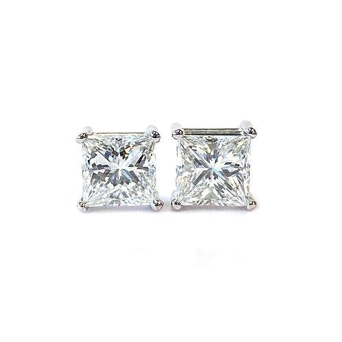 2.50CTTW. GIA PRINCESS CUT DIAMOND STUD EARRINGS IN 14KTWG