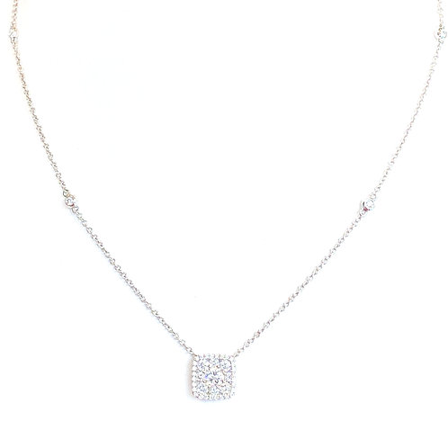 SQUARE CUSHION HALO CLUSTER STYLE DIAMOND PENDANT NECKLACE