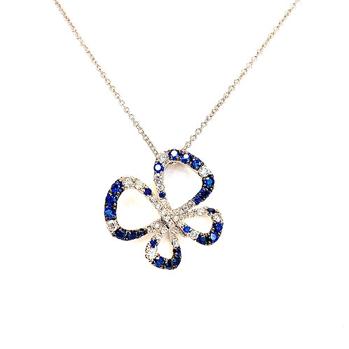 FASHION BLUE SAPPHIRE & DIAMOND BUTTERFLY PENDANT