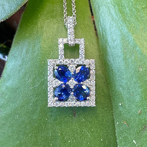 FASHION BLUE SAPPHIRE & DIAMOND PENDANT BOX NECKLACE