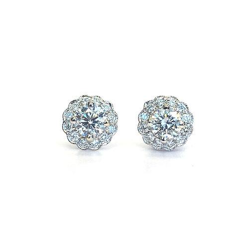 0.75CTTW. VINTAGE INSPIRED FLORAL DIAMOND HALO STUD EARRINGS 18KTWG