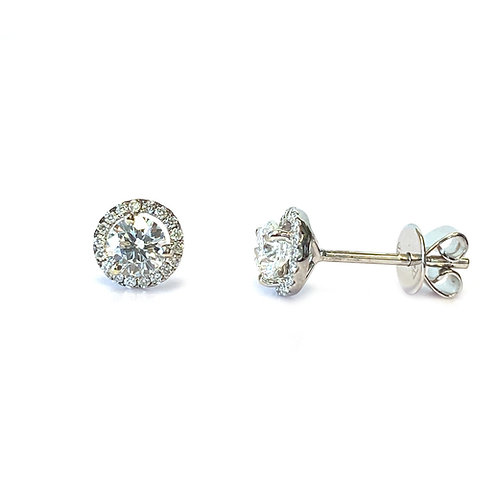 0.59CTTW. ROUND DIAMOND HALO STUD EARRINGS IN 18KTWG