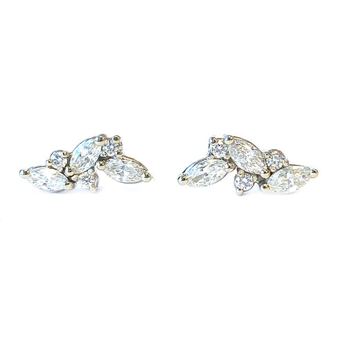 MARQUISE & ROUND DIAMOND STUD EARRINGS