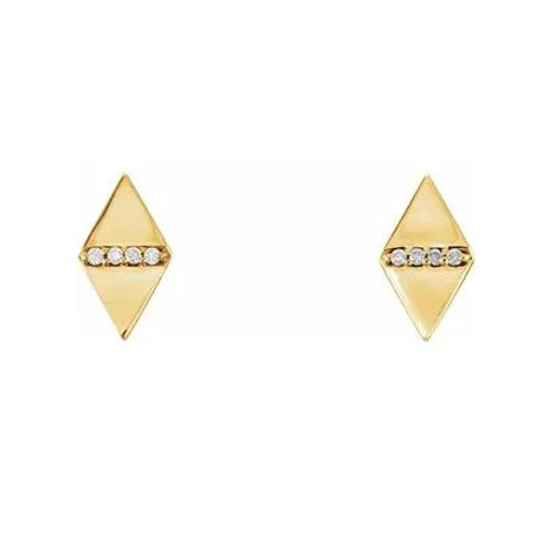 14KTYG 0.02 CTTW DIAMOND GEOMETRIC EARRINGS