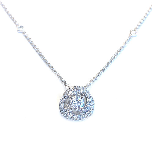 0.36CT. GIA DIAMOND SWIRL TWIST PENDANT NECKLACE