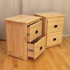 Twin pine bedside tables