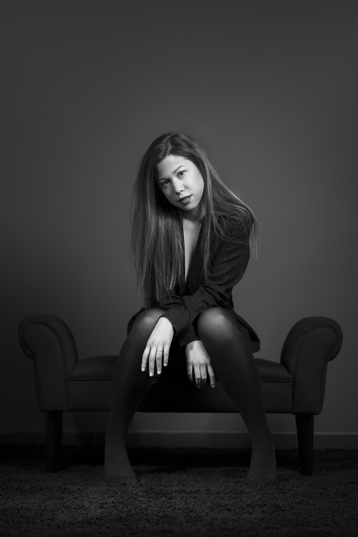 portrait, studio, noir et blanc