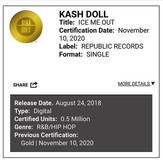 """Kash Doll's """"Ice Me Out"""" Produced by FKi 1st Certified Gold"""