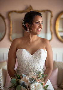 St.Augustine Florida bride after getting glammed by the Bridal by OUAB hair and makeup team