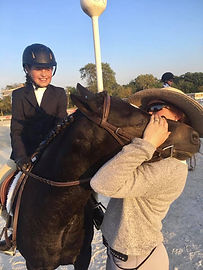 pony hunte moonie and rider anna with trainer T'Neil Guerrero-Wise
