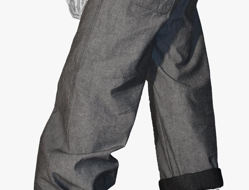 Wide-Leg Denim Pants