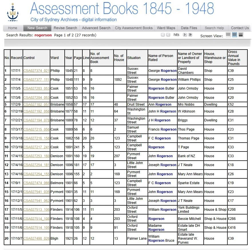 Example of Assessment Books search results for the name Rogerson - courtesy of the City of Sydney