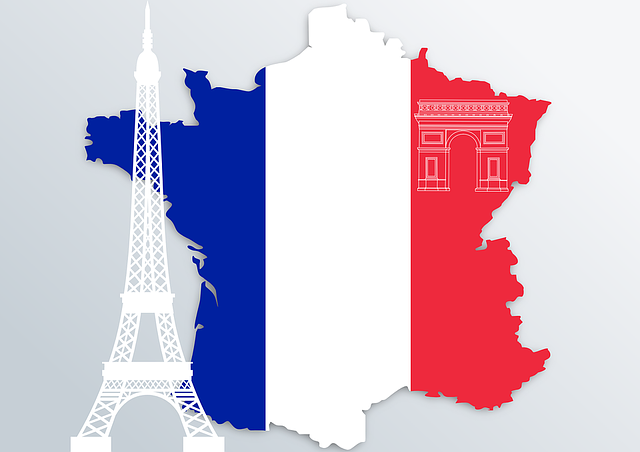French flag with overlay of the Eifle Tower and Arc de Triomphe courtesy of Pixabay.com