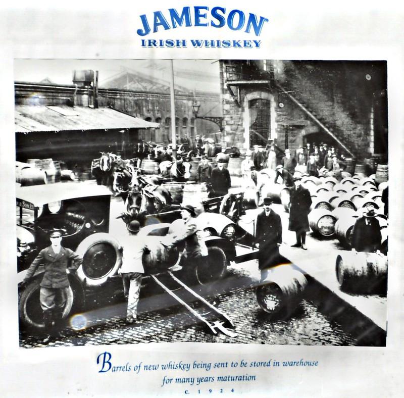 Jameson Irish Whiskey warhouse - barrels going into storage for long term maturation. Circa 1924. Courtesy of pegatina1 via Flikr.com.