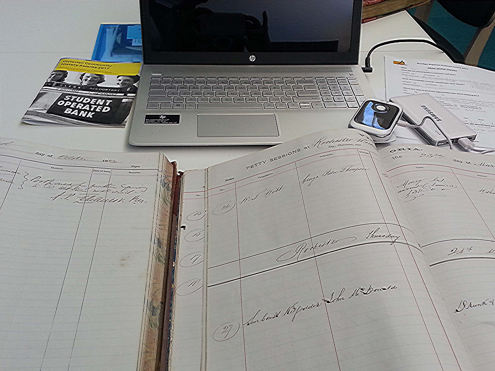 laptop and old registers