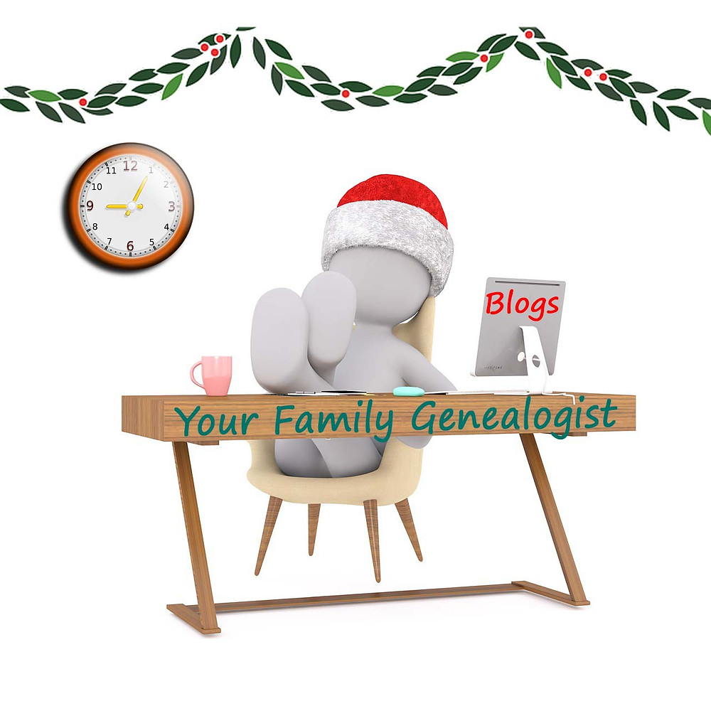 Graphic of a white man at a Your Family Genealogist desk with his feet up reading an online blog. Courtesy of Pixabay.com