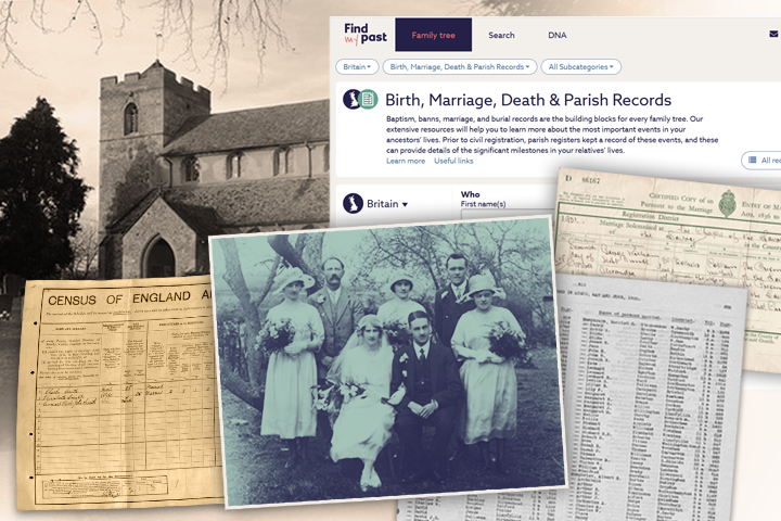 Composite picture of births, marriages and deaths at findmypast.com.au.