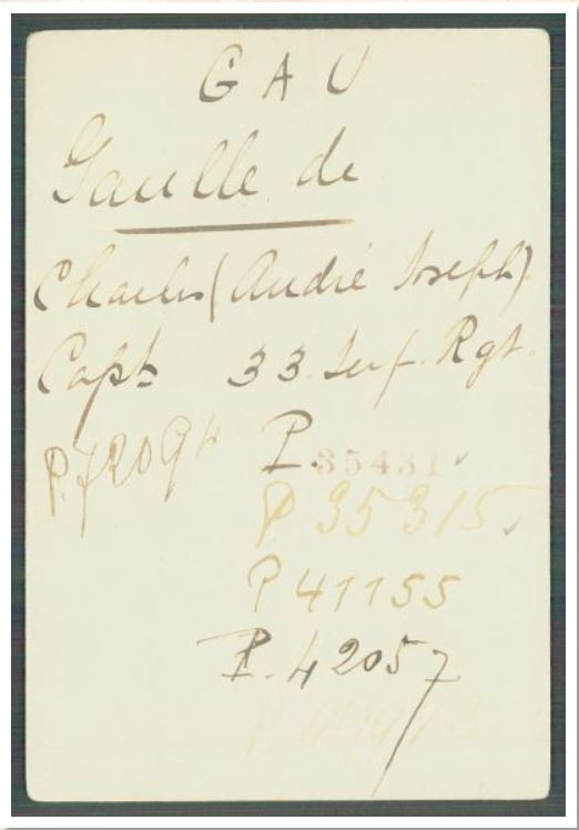 Image of Charles De Gaulle's ICRC index card in Blog about WW1 prisoners of war Red Cross records by Your Family Genealogist