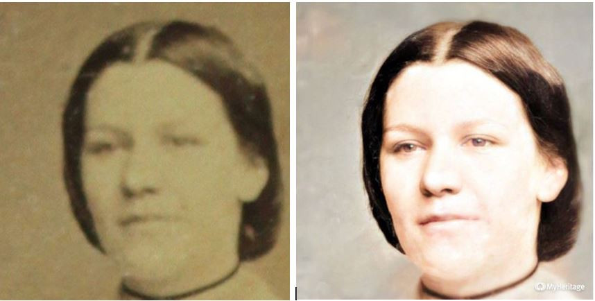 Photo before and after Your Family Genealogist's great great grandmother circa 1870
