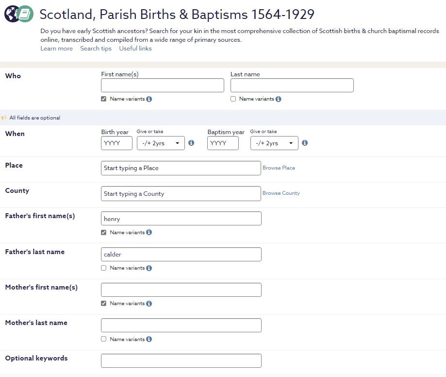 Screen capture of the search screen for Scotland's parish births and baptisms at Findmypast.com.au.