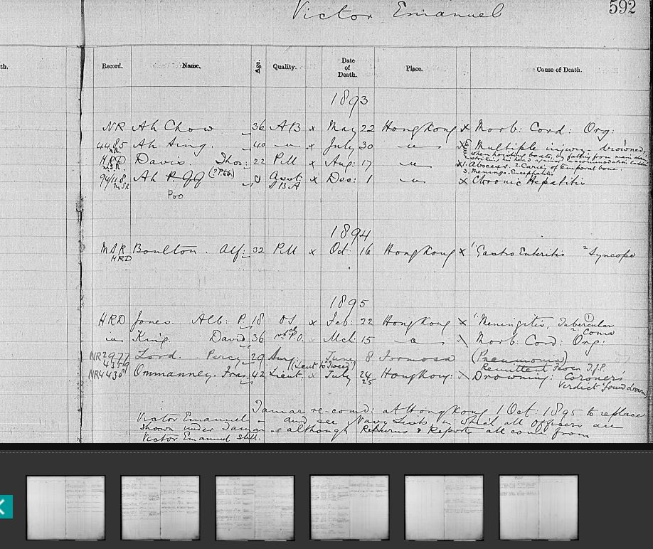 Image of an 1893 index of naval staff who died on HMS Victor Emanuel in 1893-1895. Courtesy of www.nationalarchives.gov.uk.