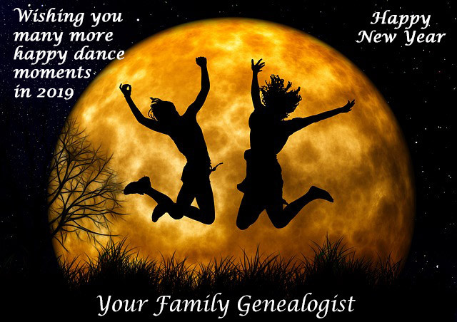 """2 people jumping for joy with a full moon in the background. From pixabay.com. amended to include """"Wishing you many more happy dance moments in 2019"""" from Your Family Genealogist."""