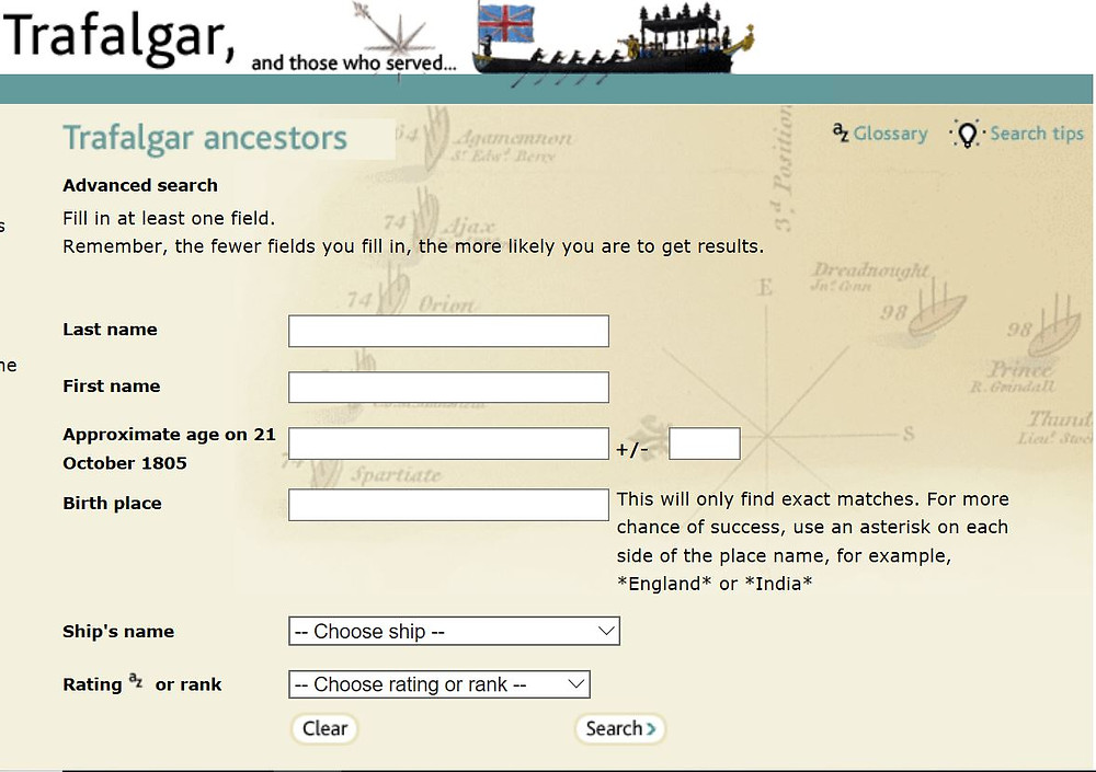 Image of Trafalgar Ancestors search screen courtesy of National Archives