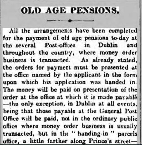 Extract from the Irish Times of 1 Jan 1909 re Old Age Pension in blog about this topic by Your Family Genealogist