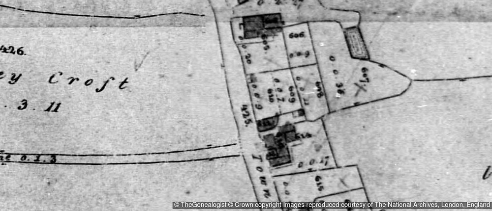 Tithe Map extract for Pinxton, Derbyshire - courtesy of TheGenealogist.co.uk