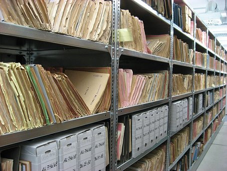 Archives picture from Pixabay in Your Family Genealogist blog post about South Austalian records being digitised by Family Search