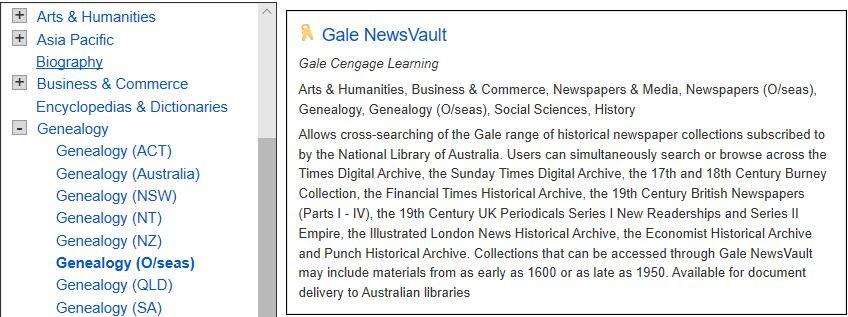 Description of the Gale News Vault on the NLA's e-Resources web page. Courtesy of www.nla.gov.au