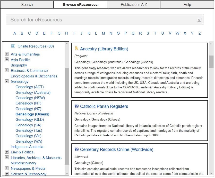 Screen shot of the overseas Genealogy section on the National Library of Australia's e-Resources webpage.