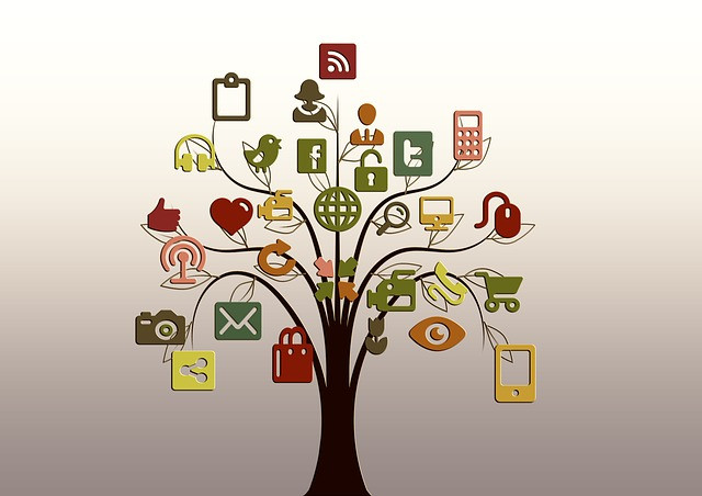 Picture of social media types on branches of a tree - courtesy of Pixabay