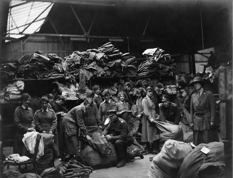Photo of WAAC members in a clothing store at a British ordnance depot. Courtesy of the Imperial War Museum (c)