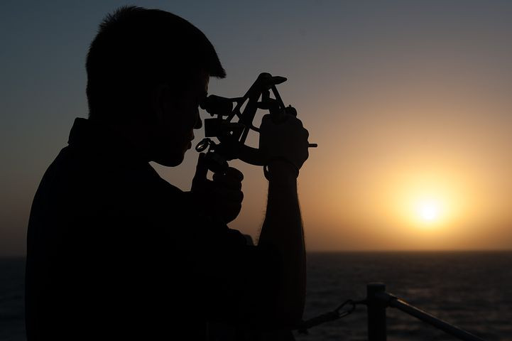 Sailor using sextant - Pixabay.com