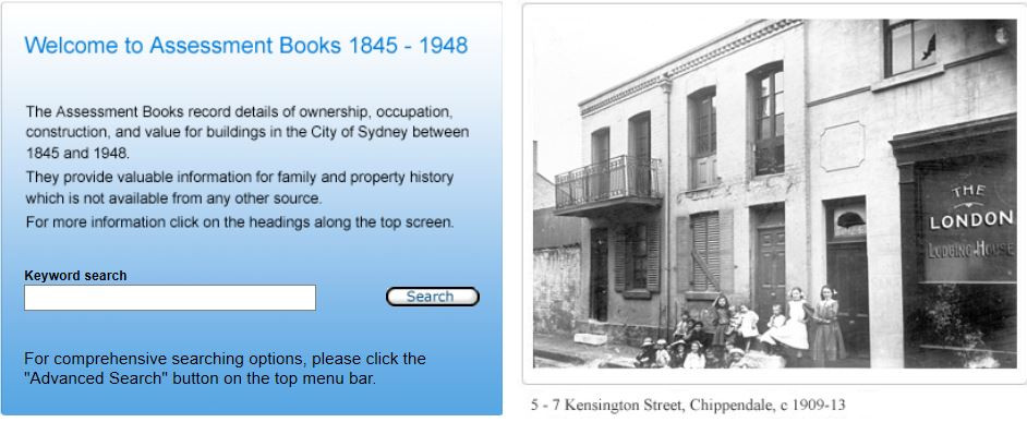 City of Sydney Assesment Books - image of the keyword search page