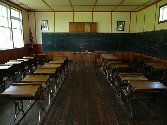 Photo of old school room from Pixabay.com for Your Family Genealogist's Blog