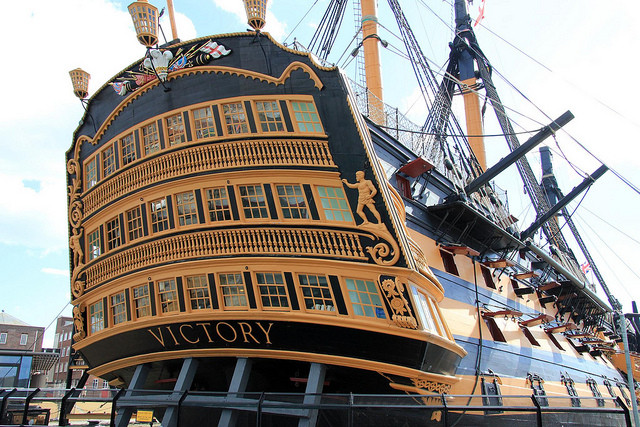 Picture of HMS Victory flagship of Admiral Nelson at Battle of Trafalgar courtesy of Portsmouth Historic Dockyad