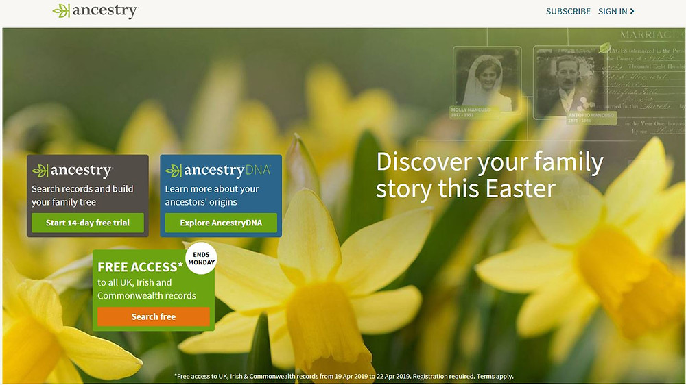 Image of Ancestry.co.uk's Easter home page.