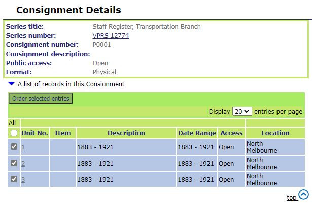Screen shot of Consignment Details screen at PROV