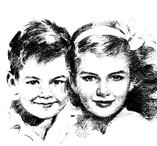 Black and white sketch of 2 school children courtesy of Pixabay.com