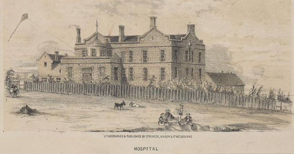 An early Royal Melbourne Hospital sketch courtesy of State Library of Victoria