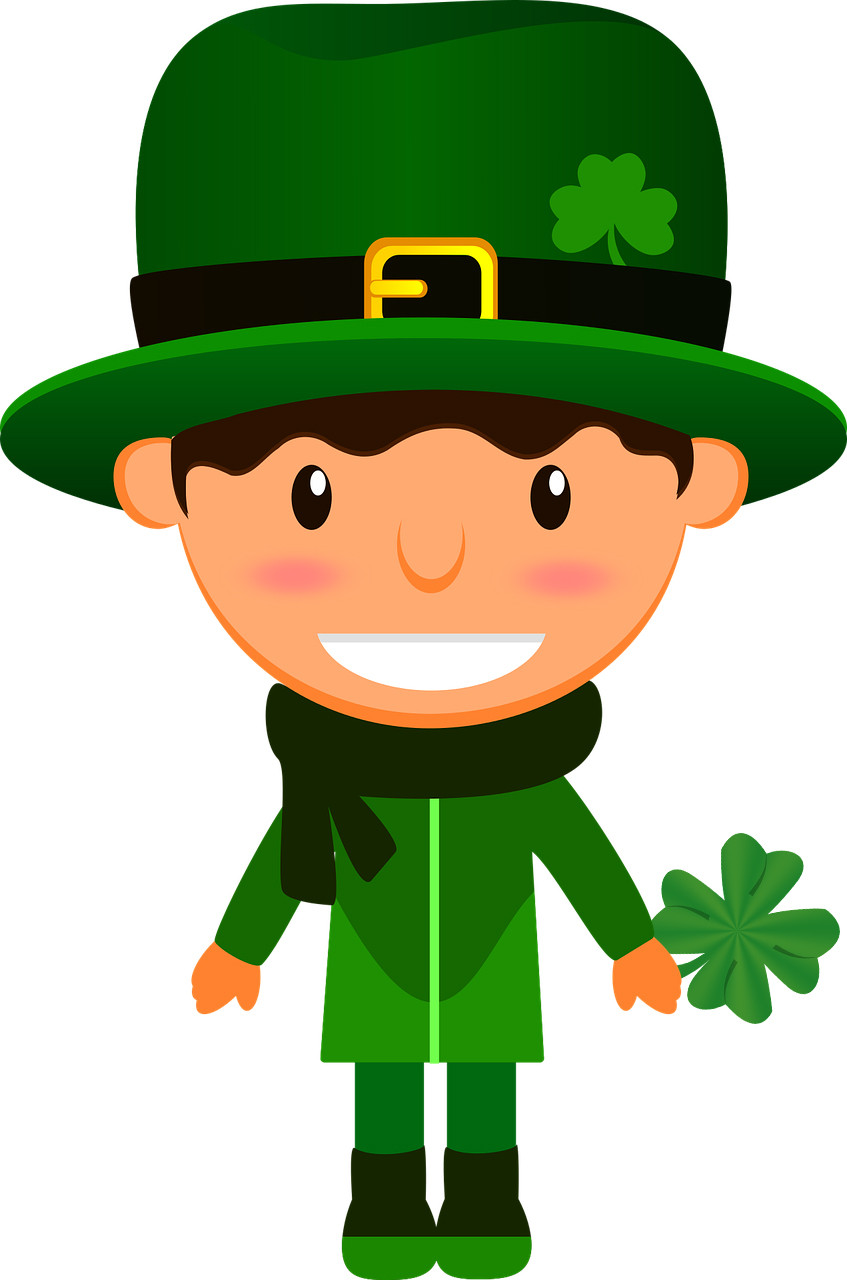 Graphic of Irish boy holding a shamrock. From Pixabay.com.