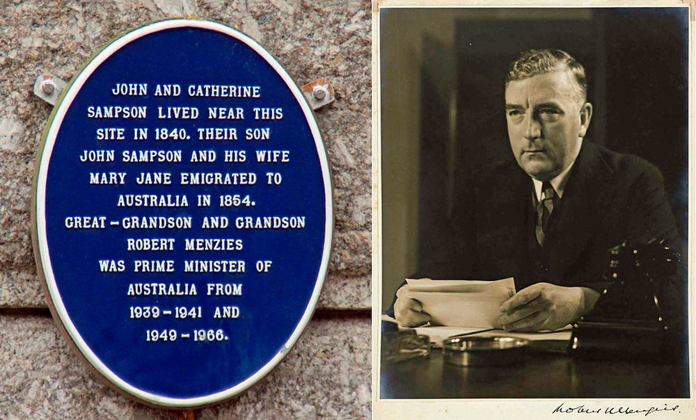 Blue Plaque and Sir Robert Menzies announcing Australia is at War 1939