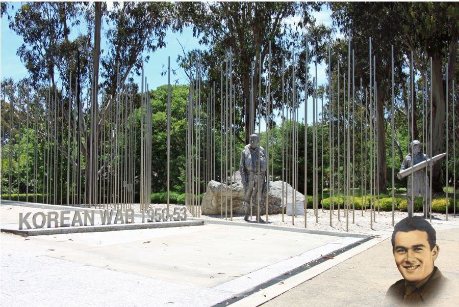 Korean War Memorial Canberra with Albert Barnes ghosted Copyright Therese Lynch Your Family Genealogist