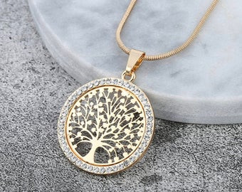 Picture of a tree of life necklace. From www.etsy.com