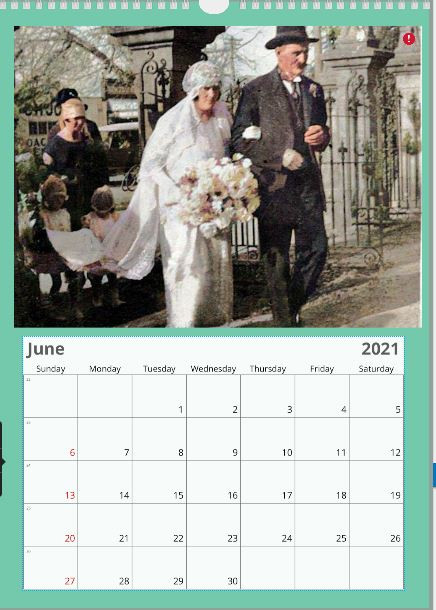 Sample of a personalised family history wall calendar