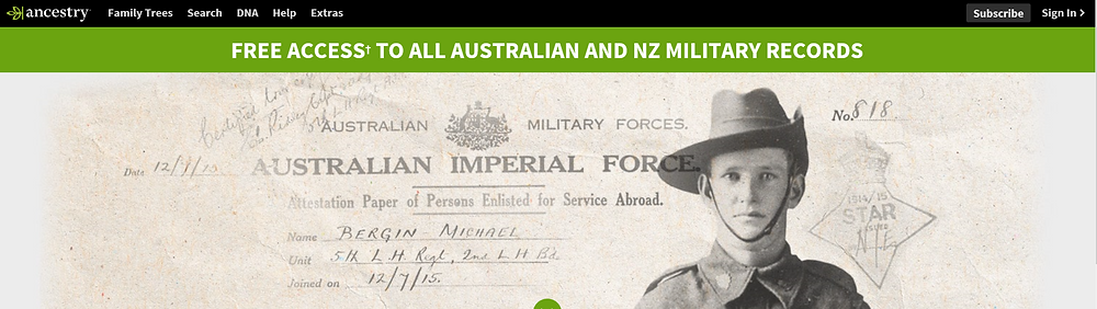Image of Ancestry.com.au's advertisement regarding free access to all Australian and NZ military records for Anzac week commemorations