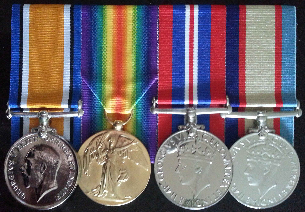 WW1 and WW2 Army medals copyright Therese Lynch Your Family Genealogist