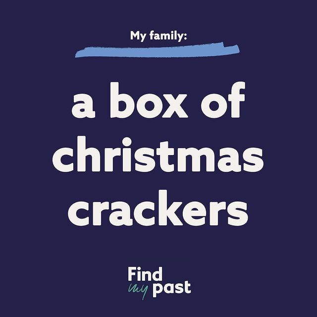 A Findmypast graphic titled A box of Christmas crackers.